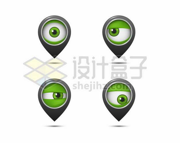 4款抽象绿色眼球形状的定位标志192935免抠矢量图片素材