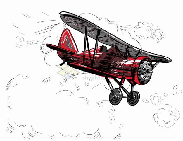 红色双翼机复古飞机手绘插画png图片素材
