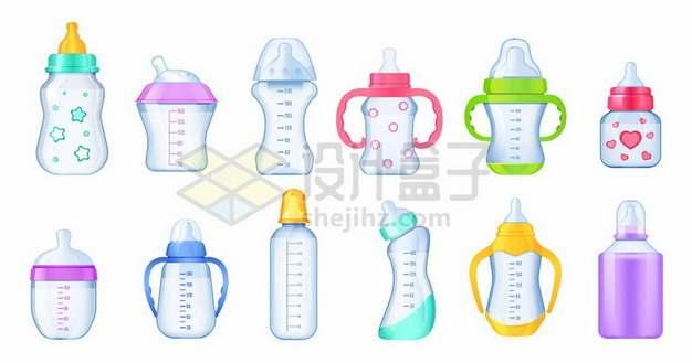 各种奶瓶宝宝喝水吸管杯婴儿学饮杯水壶等210519矢量图片免抠素材