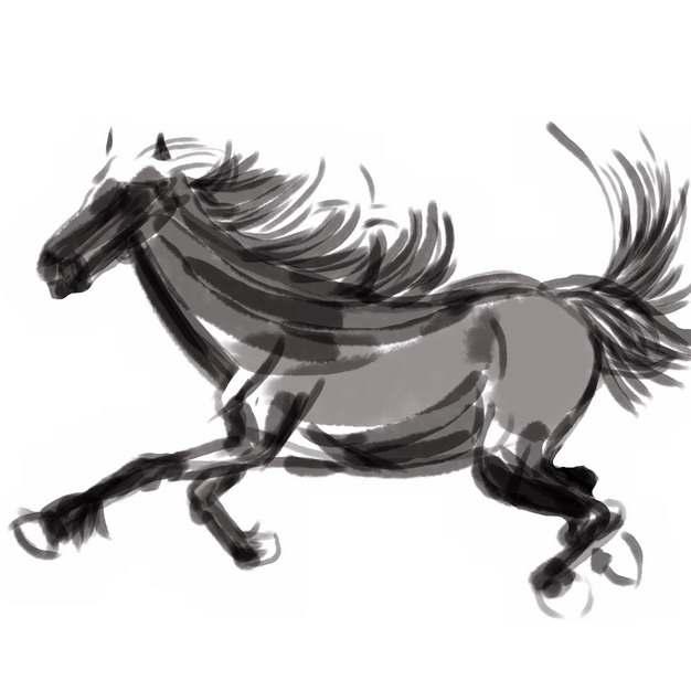 黑色水墨画奔跑的骏马手绘插画981046png图片素材