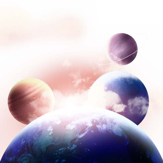 绚丽的系外行星和三个卫星壮丽外星球974560图片素材
