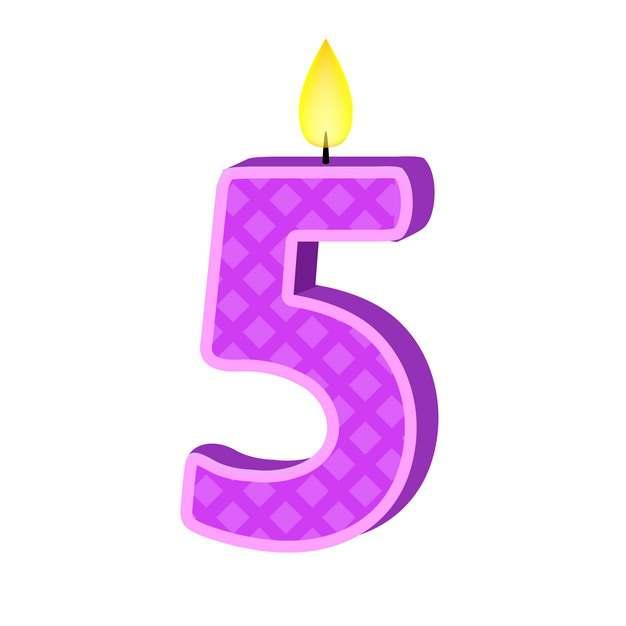 五周岁生日快乐生日蜡烛数字蜡烛437669免抠图片素材