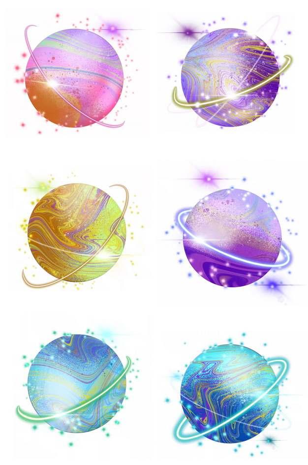 6款带光环的彩色肥皂泡绚丽图案行星图片免抠素材212862