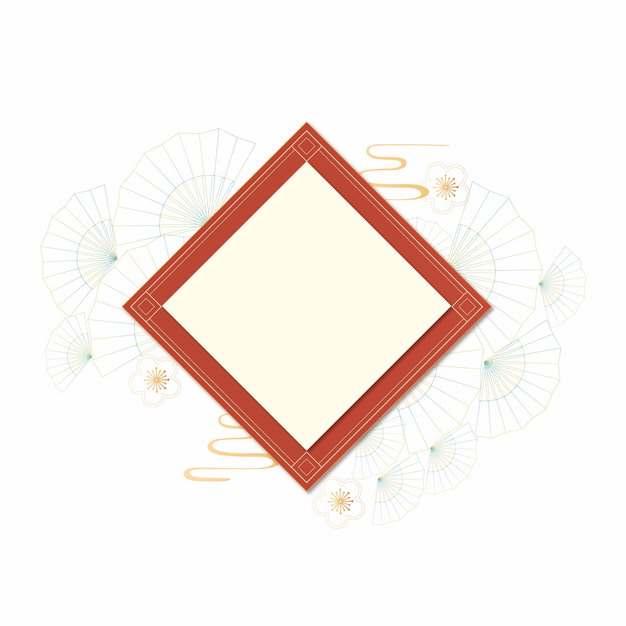 中国风新年春节菱形对联标题框文本框312023图片免抠素材