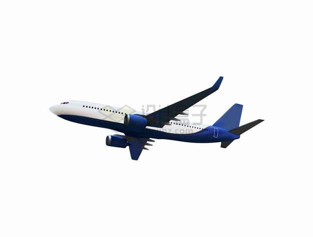 蓝色白色的大型客机飞机插画543785png图片素材