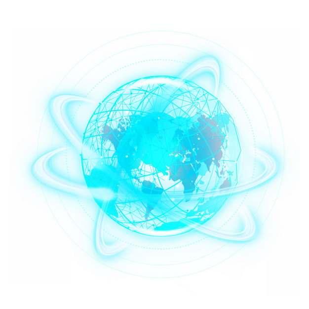 科技风格发光的蓝色地球图案和光环光圈446658图片素材