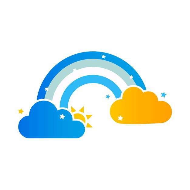 扁平化风格蓝色黄色云朵和蓝色彩虹图案932919免抠图片