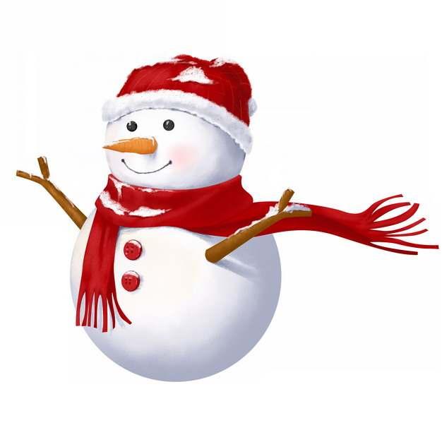 系着红围巾的卡通雪人639561图片素材