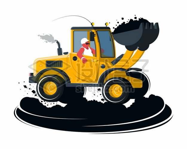 正在工作的卡通挖掘机挖土机454330图片免抠矢量素材
