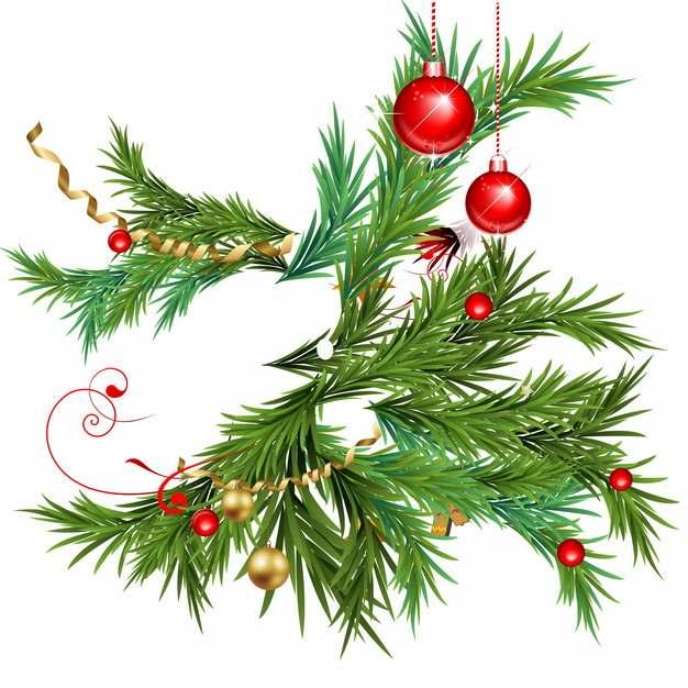 圣诞节彩色圣诞球挂饰和松针树叶849654矢量图片素材
