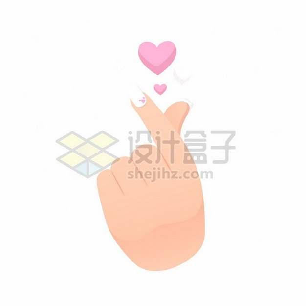 大拇指食指单手比心手势和红心图案手绘插画263870矢量图片免抠素材