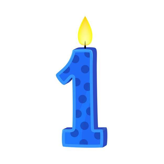 一周岁生日快乐生日蜡烛数字蜡烛200831免抠图片素材