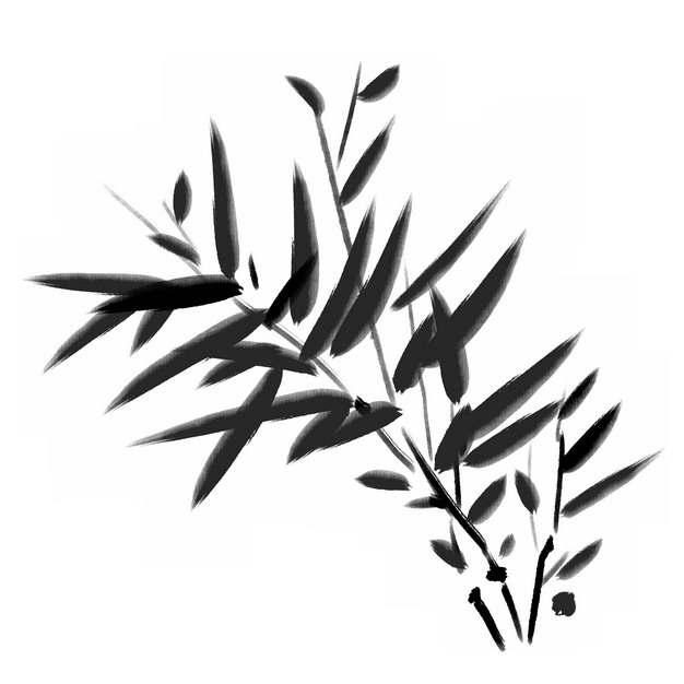 黑色竹叶水墨画毛笔画122875png图片素材