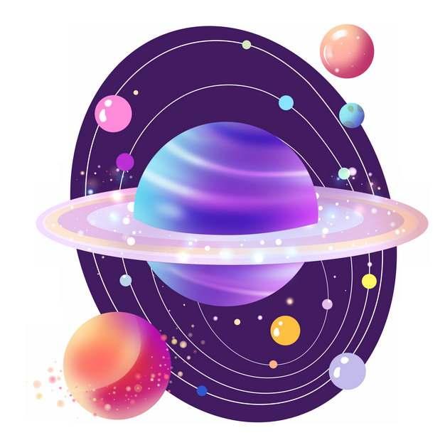 抽象插画风格太阳系示意图847106