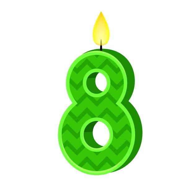 八周岁生日快乐生日蜡烛数字蜡烛270306免抠图片素材