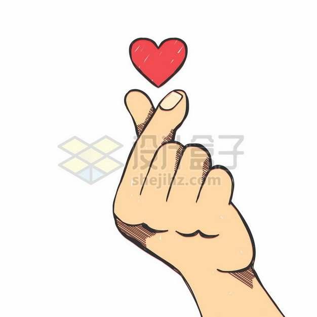 大拇指食指单手比心和红心图案手绘插画808985矢量图片免抠素材