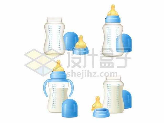 蓝色宝宝婴儿奶瓶玻璃奶瓶育儿用品910124eps矢量图片素材