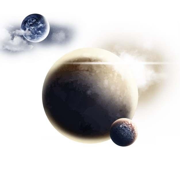 三颗外星球组成的行星系统图片免抠素材264192