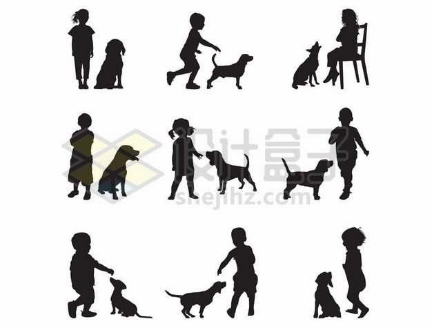 9款儿童和狗狗宠物狗玩耍剪影894540eps矢量图片素材