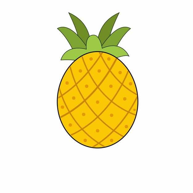 手绘菠萝彩色简笔画541050png图片素材