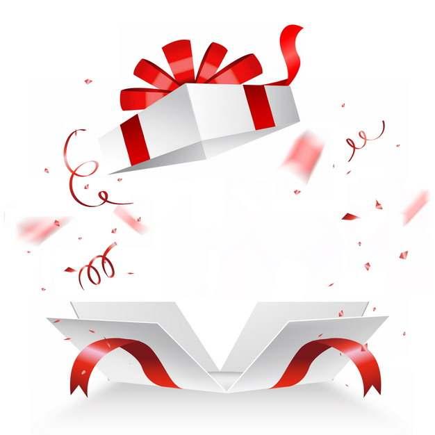 打开的白色礼物盒和飞出的红丝带装饰738055png图片素材