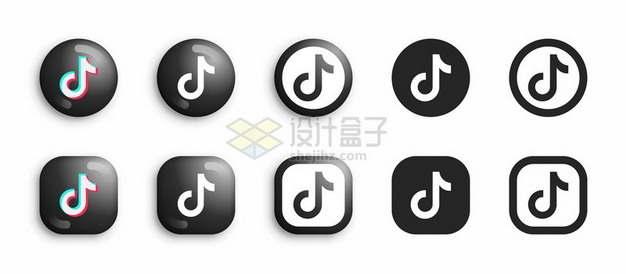 10款圆形和圆角正方形抖音TikTok标志logo图标541353矢量图片免抠素材