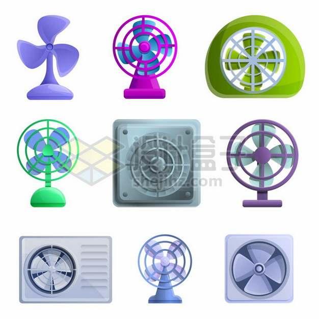 9款卡通电风扇693180矢量图片免抠素材