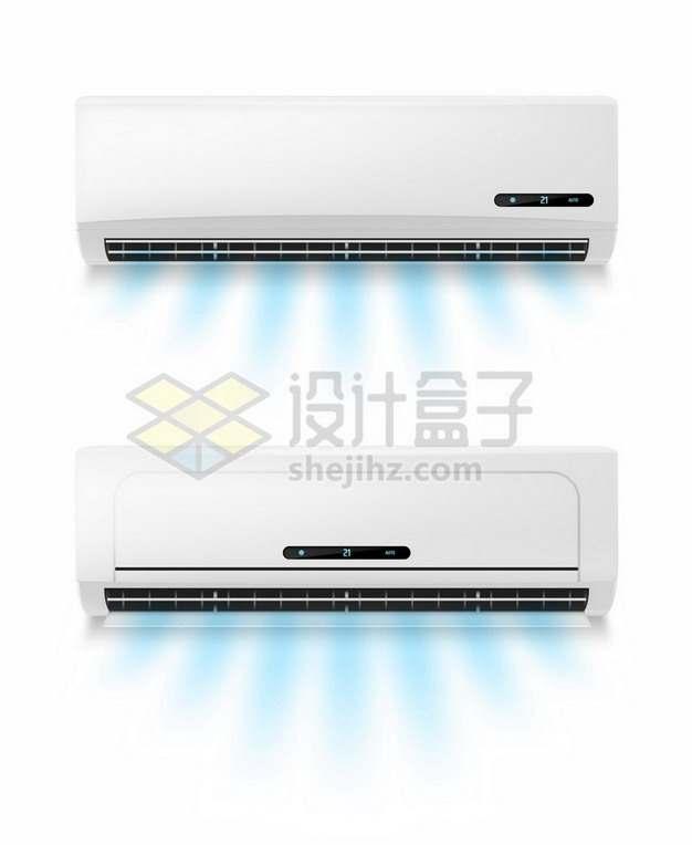 两种不同造型的空调室内机正在吹出蓝色的风304413矢量图片免抠素材