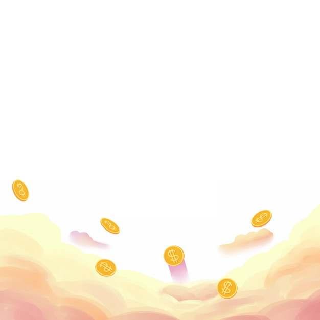漫画风格黄色的云朵和金币装饰757601图片素材