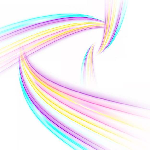 纠缠的七彩虹色发光曲线线条装饰948995png图片素材