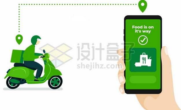 绿色手机上的外卖APP和骑电动车的送餐小哥133293矢量图片免抠素材