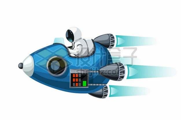 卡通宇航员坐在蓝色火箭上高速飞行346333图片免抠矢量素材