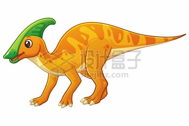 一只可爱的黄色卡通副栉龙灭绝恐龙961865图片免抠矢量素材