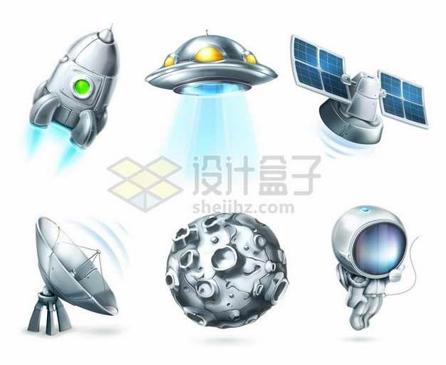 银色金属色小火箭飞碟卫星月球宇航员和地面接收站等卡通宇宙探索科技843013矢量图片免抠素材