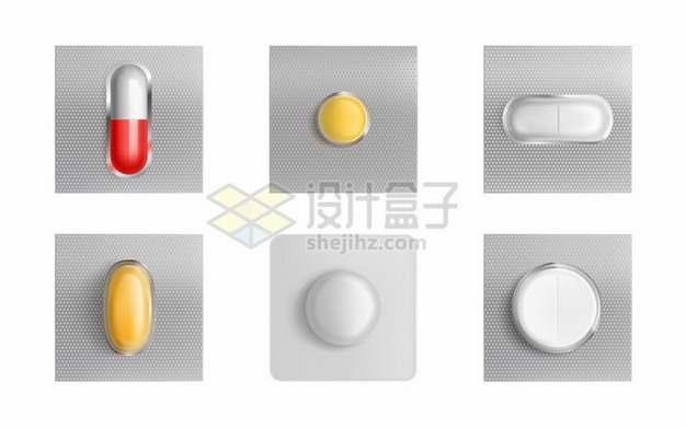 6种类型的药片药品铝箔包装技术931389矢量图片免抠素材
