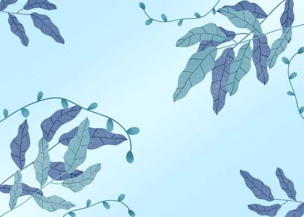 绿色树叶冬天淡蓝色背景图片素材196005