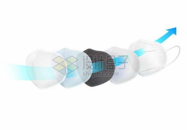 N95口罩分层结构过滤空气示意图598012矢量图片免抠素材