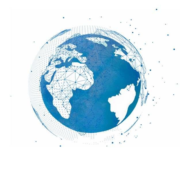 蓝色点线组成的科技风格地球和环绕的卫星轨迹373508图片素材