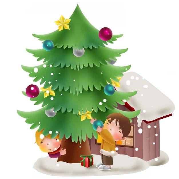 卡通小男孩正在整理圣诞树圣诞节装饰192403图片素材