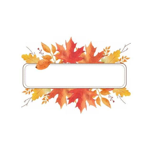 秋天里的各种枫叶红叶树叶枯叶组成的长方形标题框529273png图片素材