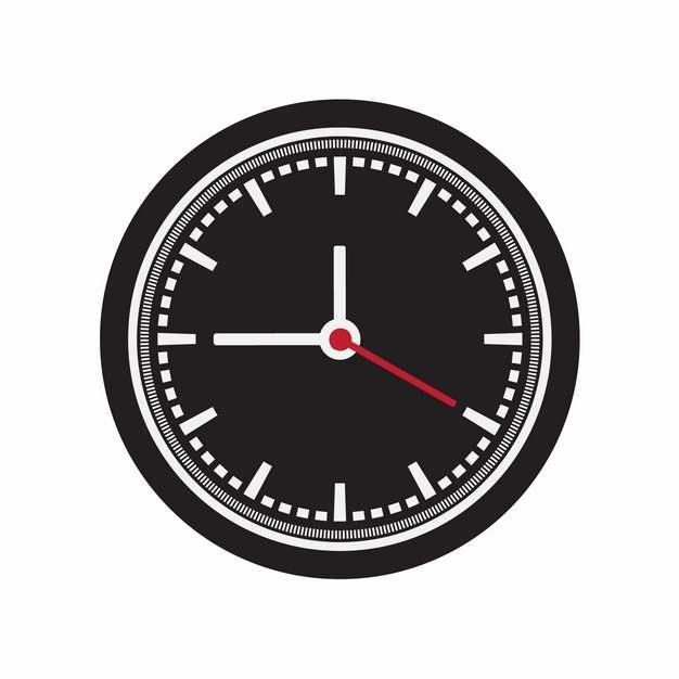 黑白色的精密钟表盘图案和红色秒针988035免抠图片素材