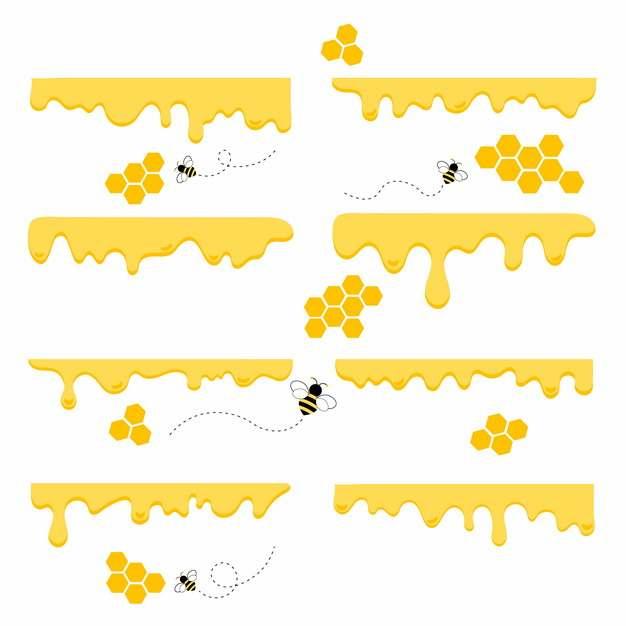 八款黄色蜂蜜流淌效果和蜜蜂图案821942免抠图片素材
