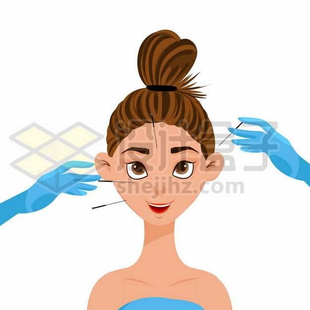 卡通女孩正在接受脸部针灸治疗242448eps矢量图片素材