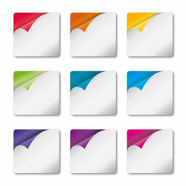 9款掀开一角的方块按钮170237图片素材
