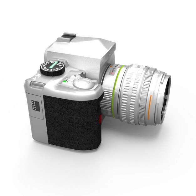 C4D风格逼真的银色3D立体数码单反相机模型165850png图片素材
