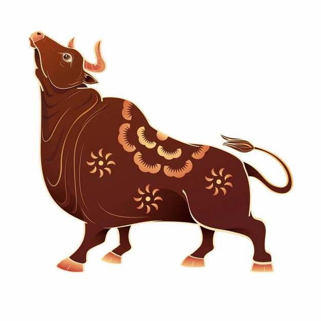 抽象公牛褐色牛年新年春节剪纸268198图片免抠素材