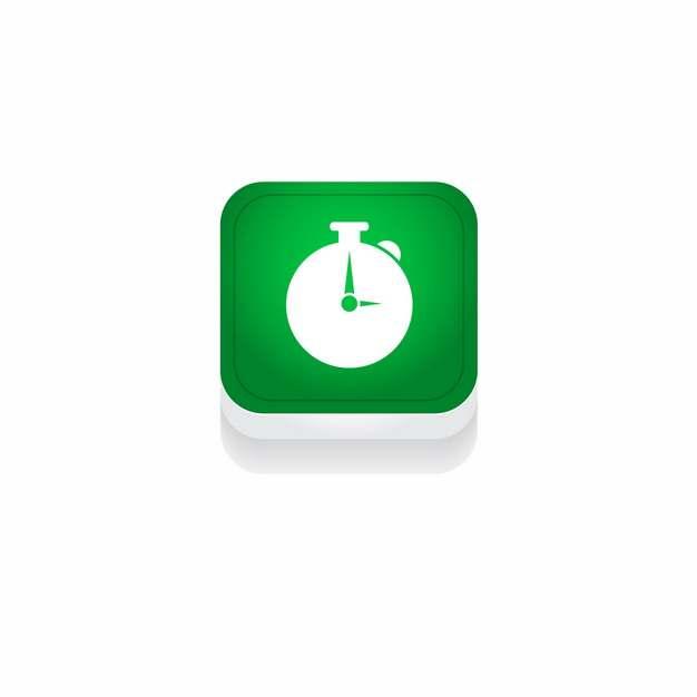 绿色秒表时间3D立体圆角图标594499免抠图片素材