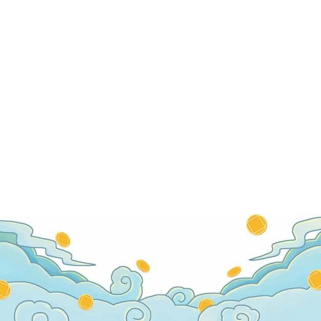 卡通漫画风格祥云和金币551414图片素材