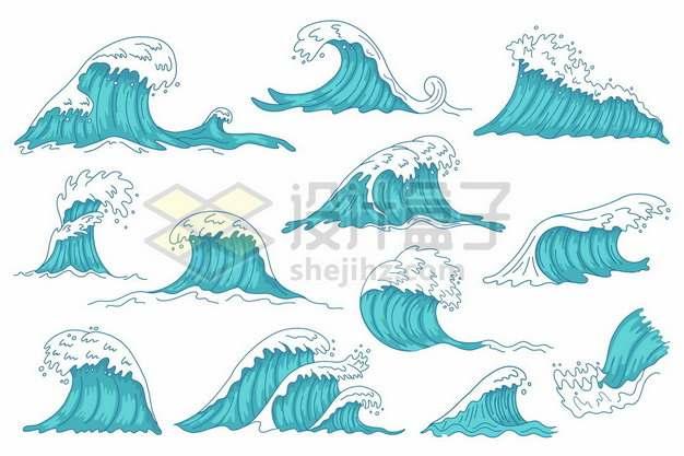 十二款蓝色的浪花海浪手绘插画716818图片免抠矢量素材
