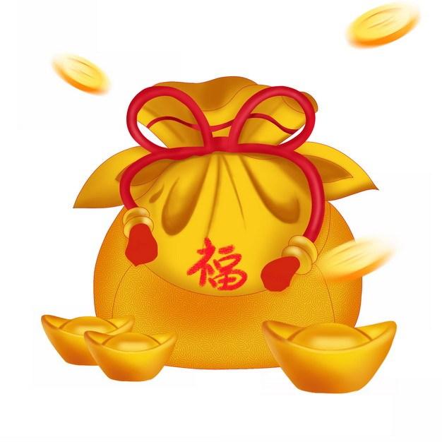 金色的福袋和金元宝578963png图片素材 节日素材-第1张
